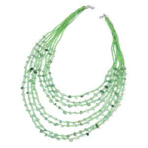 Green Aventurine, Green Glass Beads Silvertone #30
